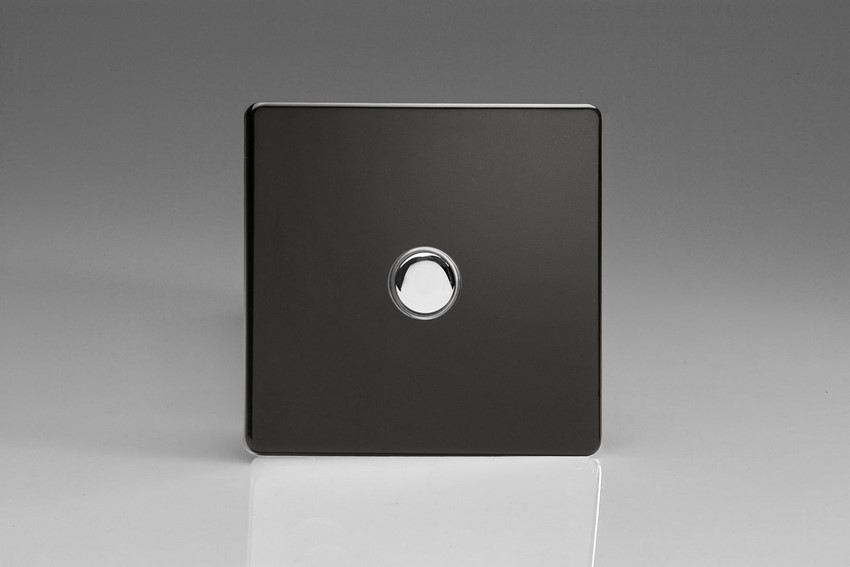 XDLP1S Varilight 1 Gang (Single) 1 or 2 way 6 Amp Push-on Push-off Switch (impulse), Dimension Screwless Premium Black