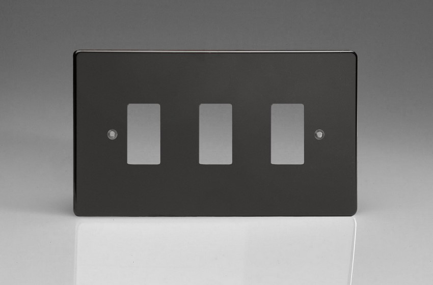 Varilight 3 Gang Power Grid Faceplate Including Power Grid Frame