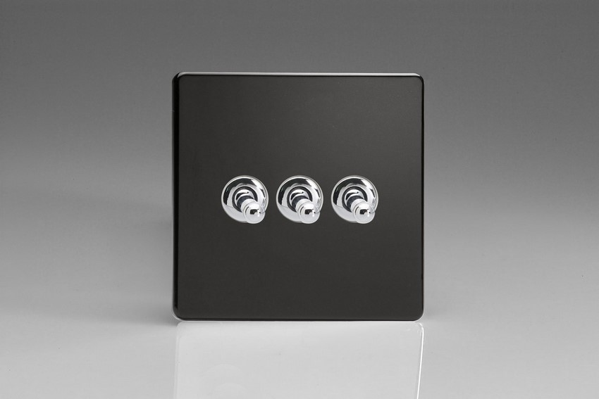 XDLT3S Varilight 3 Gang (Triple), 1 or 2 Way 10 Amp Classic Toggle Switch, Dimension Screwless Premium Black