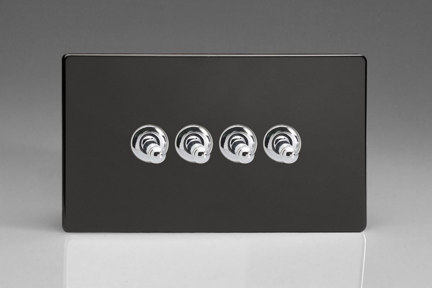 XDLT9S Varilight 4 Gang (Quad), 1or 2 Way 10 Amp Classic Toggle Switch, Dimension Screwless Premium Black (Double Plate)