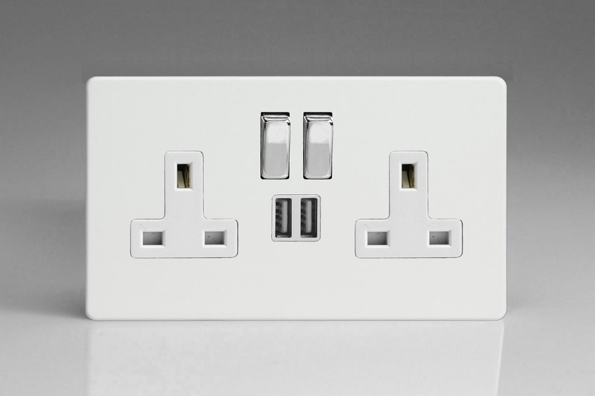 XDQ5U2SWS Varilight 2 Gang 13A Single Pole Switched Socket + 2 x 5V DC 2100mA USB Charging Ports, White Insert & Polished Chrome Switches. Dimension Screwless Premium White