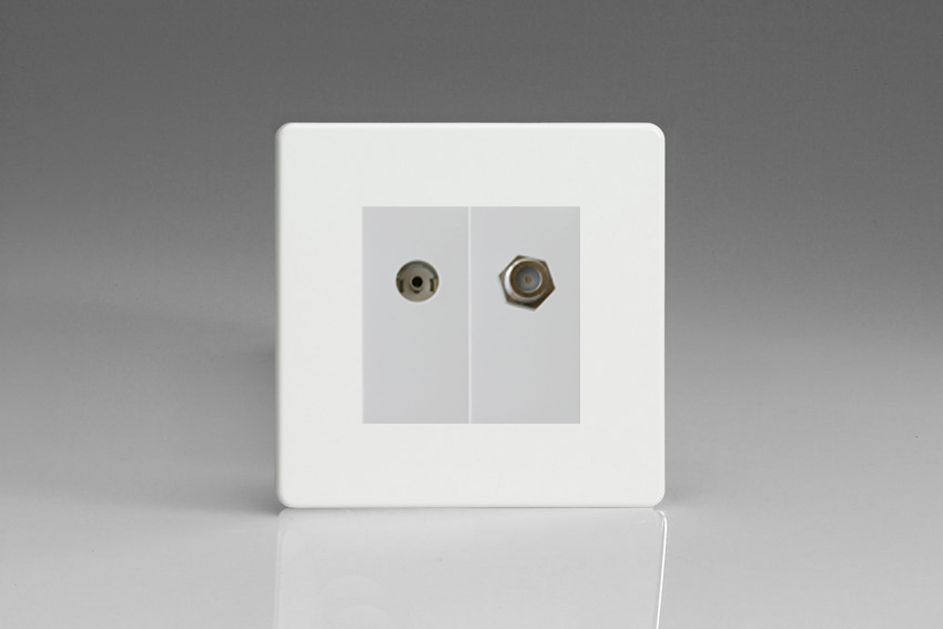 Varilight 2 Gang Comprising of White Co-axial TV and Satellite TV Socket