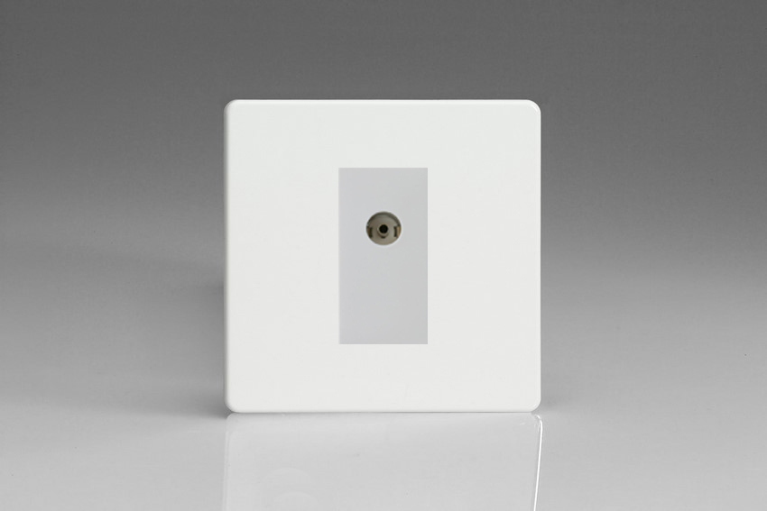 XDQG8ISOWS Varilight 2 Gang (Double), Isolated Co-axial TV Socket, Dimension Screwless Premium White