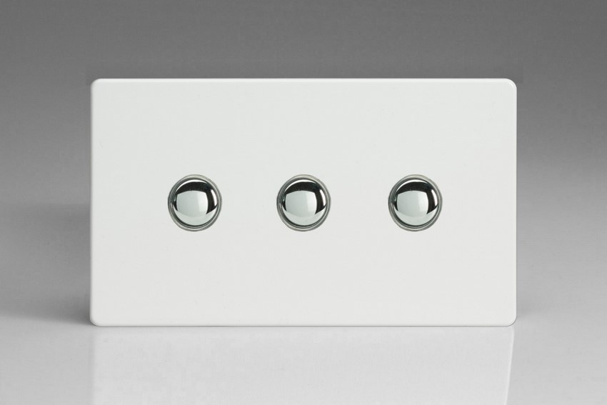 XDQP3S Varilight 3 Gang (Triple) 1 or 2 way 6 Amp Push-on Push-off Switch (impulse), Dimension Screwless Premium White