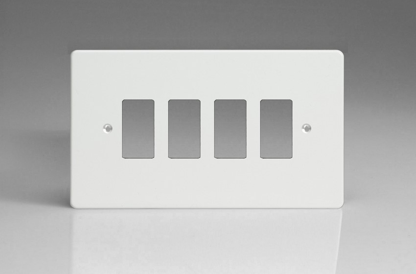 XDQPG4+ Varilight 4 Gang Premium White (Dimension Range) Faceplate including 4 Gang Power Grid Frame
