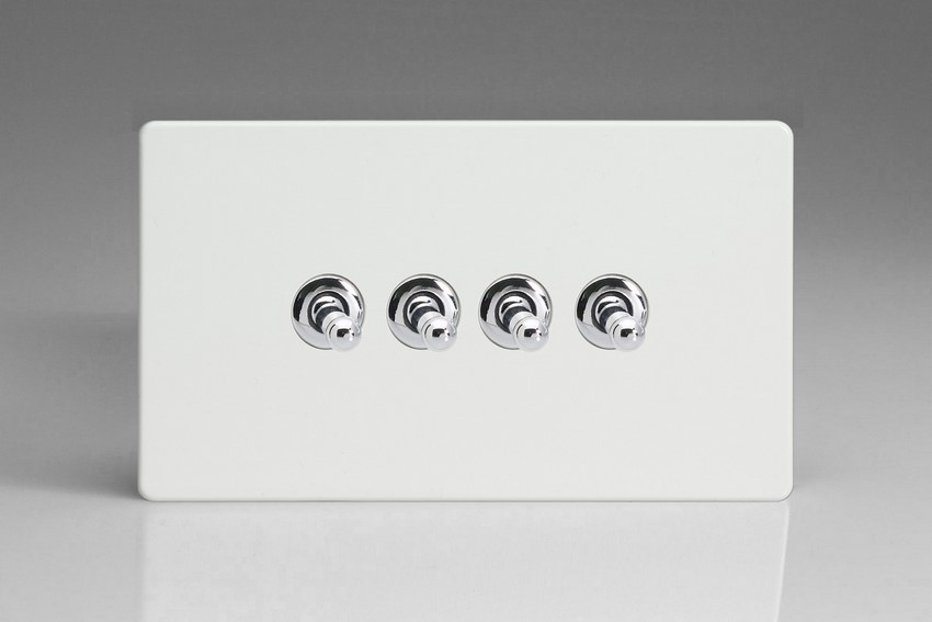 XDQT9S Varilight 4 Gang (Quad), 1or 2 Way 10 Amp Classic Toggle Switch, Dimension Screwless Premium White (Double Plate)