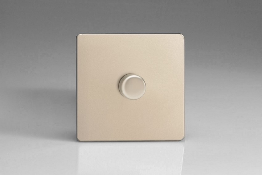 IDNP401S Varilight V-Plus 1 Gang, 1 or 2 Way 400 Watt/VA Dimmer, Dimension Screwless Satin Chrome