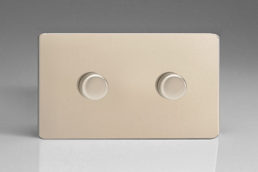 JDNDP402S Varilight V-Pro Series 2 Gang (Double) 1 or 2 Way 2x400 Watt (Trailing Edge) Dimmer, Dimension Screwless Satin Chrome (Double Plate). One of the best dimmers for most good quality dimmable LED's, like Megaman.