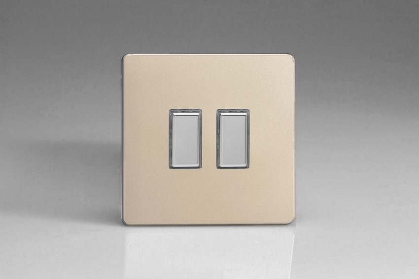 JDNES002S - Varilight V-Pro Series Eclique2, 2 Gang Tactile Touch Button Slave Unit for 2 way or Multi-way Circuits Only, Dimension Screwless Satin Chrome
