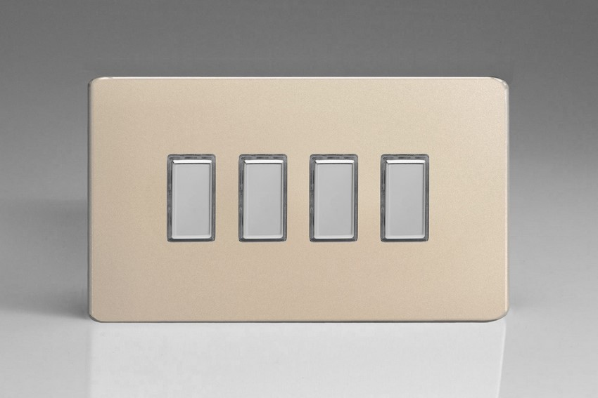 Varilight V-Pro Multi Point Tactile Touch Slave (MP Slave) Series 4 Gang Unit for use with V-Pro Multi Point Remote Master Dimmers Screwless Satin Chrome