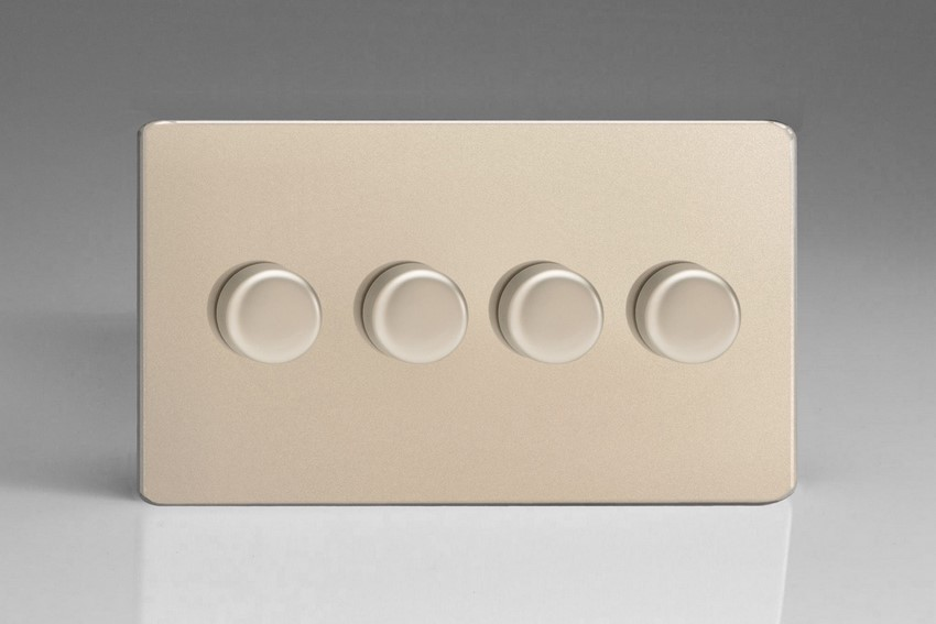 KDNDP184S Varilight V-Com Series 4 Gang, 1 or 2 Way 25-180 Watt Commercial LED Dimmer, Dimension Screwless Satin Chrome