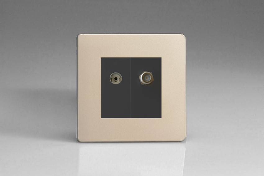 Varilight 2 Gang Comprising of Black Co-axial TV and Satellite TV Socket