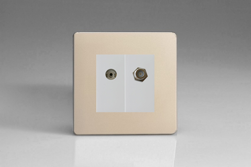 XDNG88SWS Varilight 2 Gang (Double), Co-axial TV and Satellite Socket, Dimension Screwless Satin Chrome
