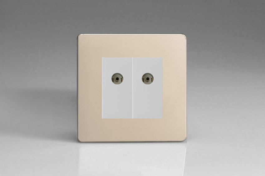 XDNG88WS Varilight 2 Gang (Double), Co-axial TV Socket, Dimension Screwless Satin Chrome