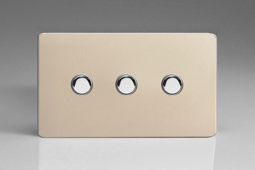 XDNM3S Varilight 3 Gang (Triple), 1 Way, 6 Amp Impulse Retractive Switch (Push To Make), Dimension Screwless Satin Chrome