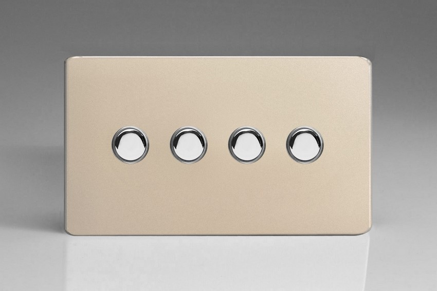 XDNM4S Varilight 4 Gang (Quad), 1 Way, 6 Amp Impulse Retractive Switch (Push To Make), Dimension Screwless Satin Chrome