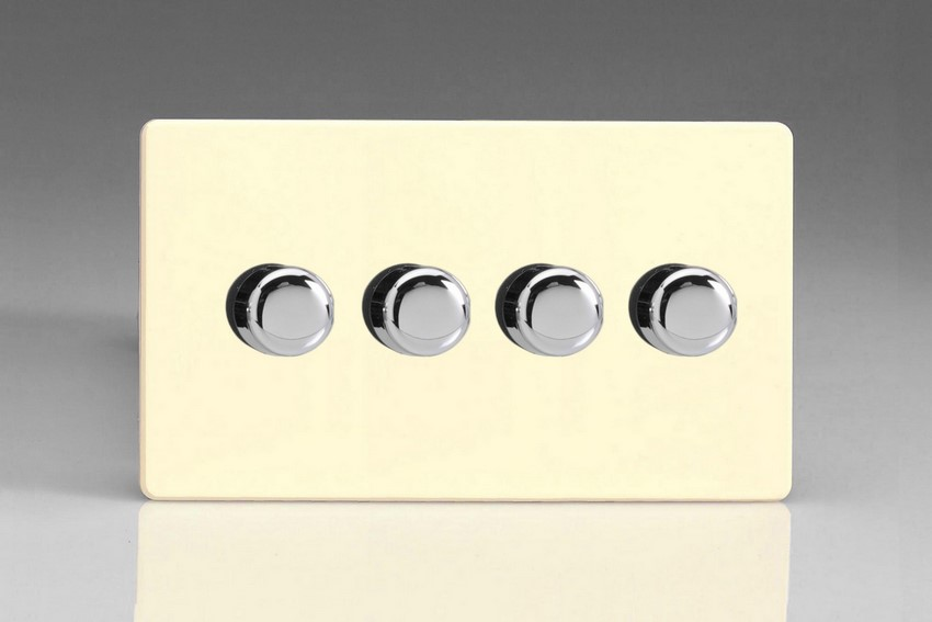 HDW44S Varilight V-Dim Series 4 Gang, 1 or 2 Way 4 x250 Watt Dimmer, Dimension Screwless White Chocolate