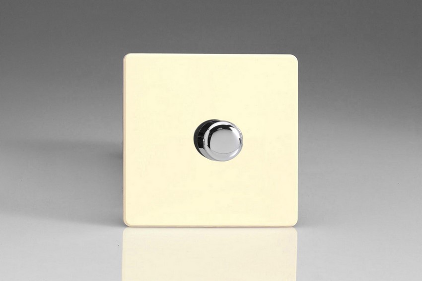 IDWP1001S Varilight V-Plus Series 1 Gang 1 or 2 Way 1000 Watt/VA Dimmer, Dimension Screwless White Chocolate