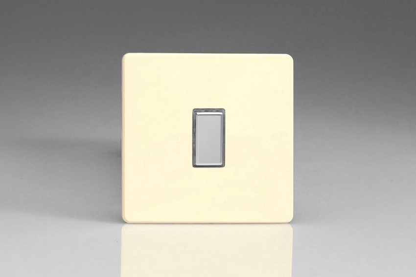 JDWES001S - Varilight V-Pro Series Eclique2, 1 Gang Tactile Touch Button Slave Unit for 2 way or Multi-way Circuits Only, Dimension Screwless White Chocolate