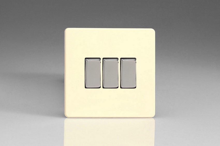 XDW3S Varilight 3 Gang (Triple), 1 or 2 Way 10 Amp Switch, Dimension Screwless White Chocolate