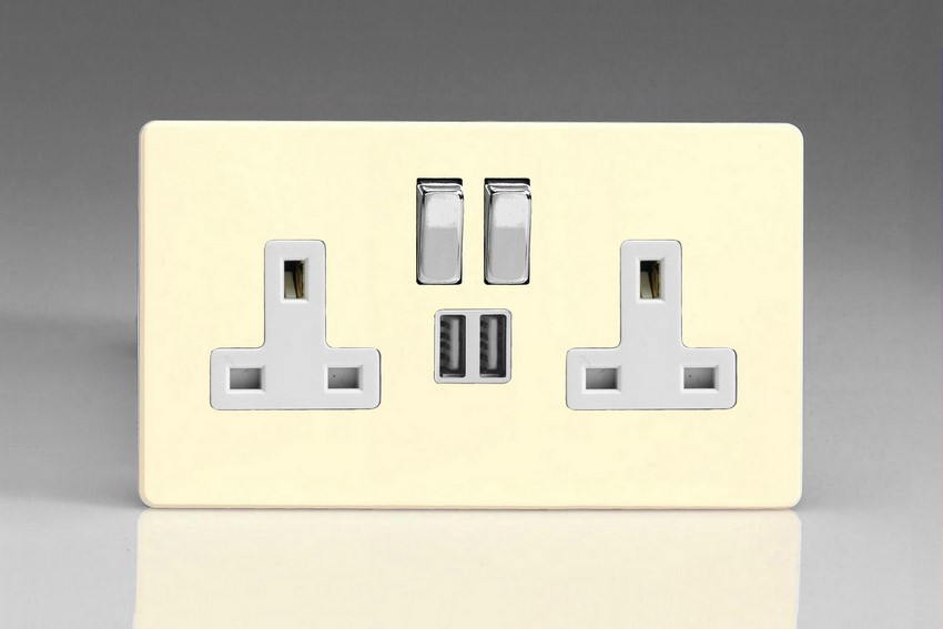 XDW5U2SWS Varilight 2 Gang 13A Single Pole Switched Socket + 2 x 5V DC 2100mA USB Charging Ports, White Insert & Polished Chrome Switches. Dimension Screwless White Chocolate