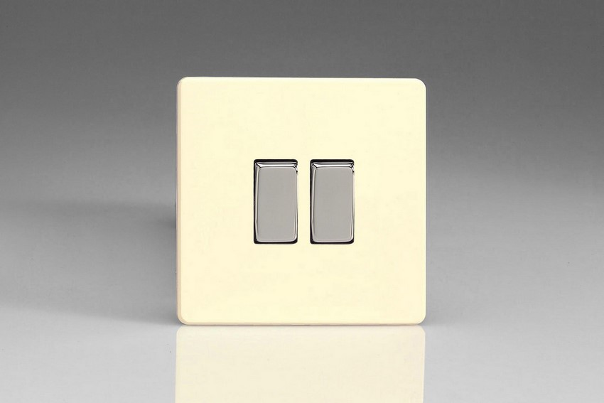 XDW77S Varilight 2 Gang (Double), (3 Way) Intermediate 10 Amp Switch, Dimension Screwless White Chocolate