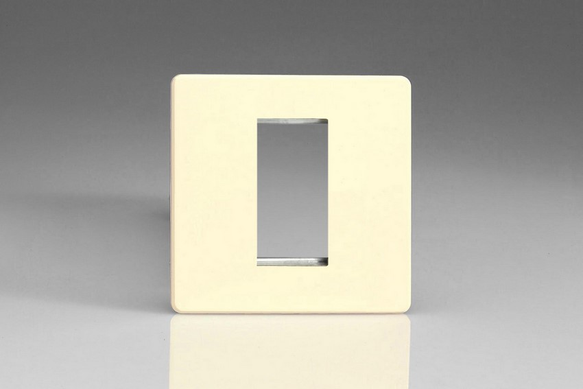 XDWG1S Varilight Single Size Data Grid Face Plate For 1 Data Module Width, Dimension Screwless White Chocolate
