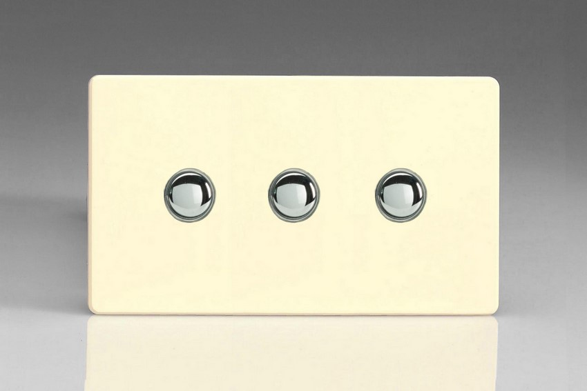 XDWP3S Varilight 3 Gang (Triple) 1 or 2 way 6 Amp Push-on Push-off Switch (impulse), Dimension Screwless White Chocolate