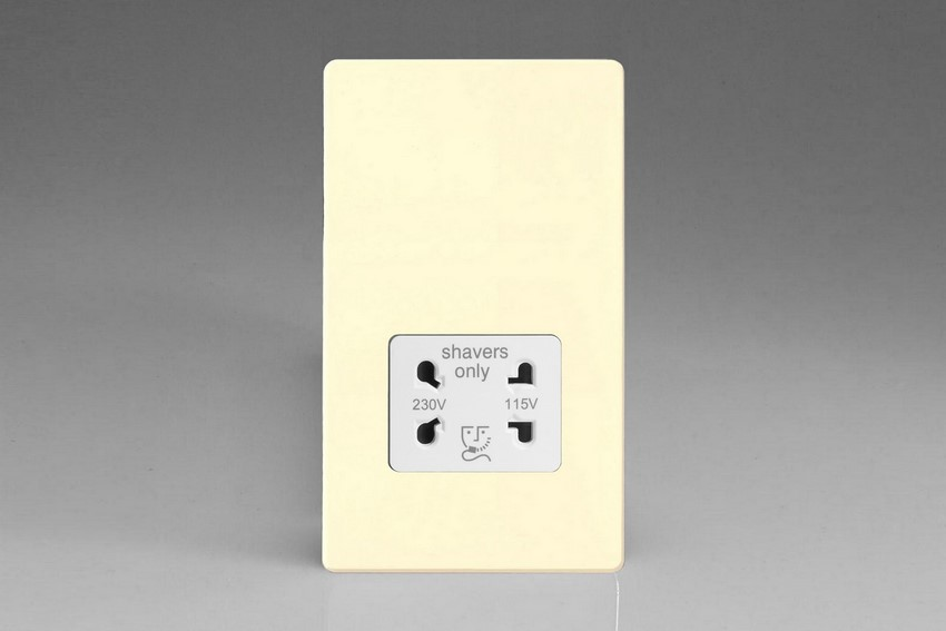 XDWSSWS Varilight Dual Voltage Shaver Socket, Dimension Screwless White Chocolate. (Bespoke & Special)