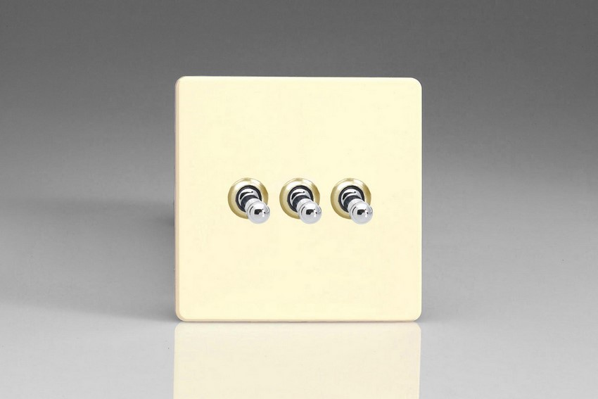 XDWT3S-SP Varilight 3 Gang (Triple), 1 or 2 Way 10 Amp Classic Toggle Switch, Dimension Screwless White Chocolate (Bespoke & Special)
