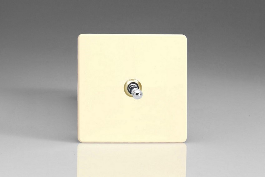 XDWT7S Varilight 1 Gang (Single), (3 Way) intermediate Classic Toggle Switch, Dimension Screwless White Chocolate
