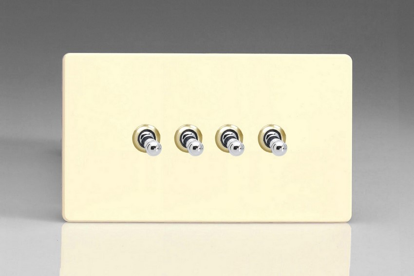 XDWT9S Varilight 4 Gang (Quad), 1or 2 Way 10 Amp Classic Toggle Switch, Dimension Screwless White Chocolate (Double Plate)