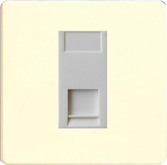 XDWGTSWS Varilight 1 Gang (Single), Telephone Slave Socket, Dimension Screwless White Chocolate with White insert