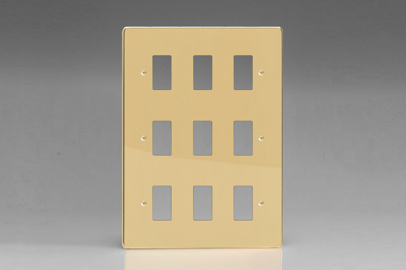XDVPG9+ Varilight 9 Gang Polished Brass (Dimension Range) Faceplate including 9 Gang Power Grid Frame