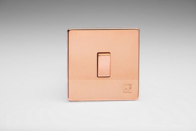 XDY1S.AC 1-Gang 10A 1 or 2 Way Rocker Switch, Screwless Antimicrobial Copper