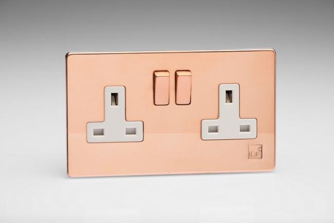 XDY5WS.AC - 2-Gang 13A Double Pole Switched Socket with Metal Rockers, Antimicrobial Copper