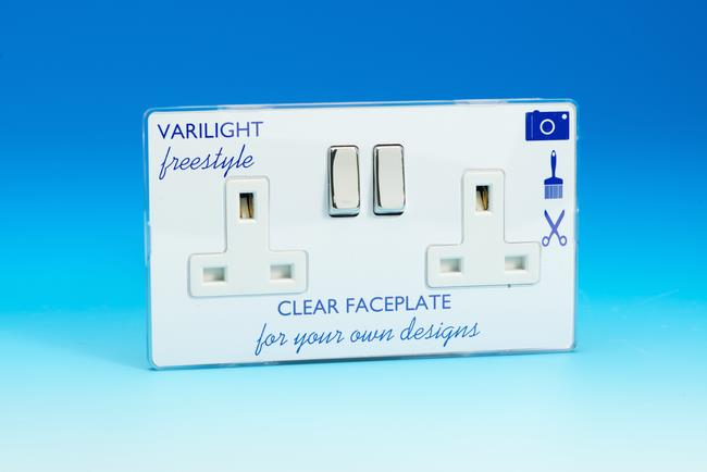 XIF5CW Varilight 2 Gang (Double), 13 Amp Switched Socket, Dimension Screwless Freestyle