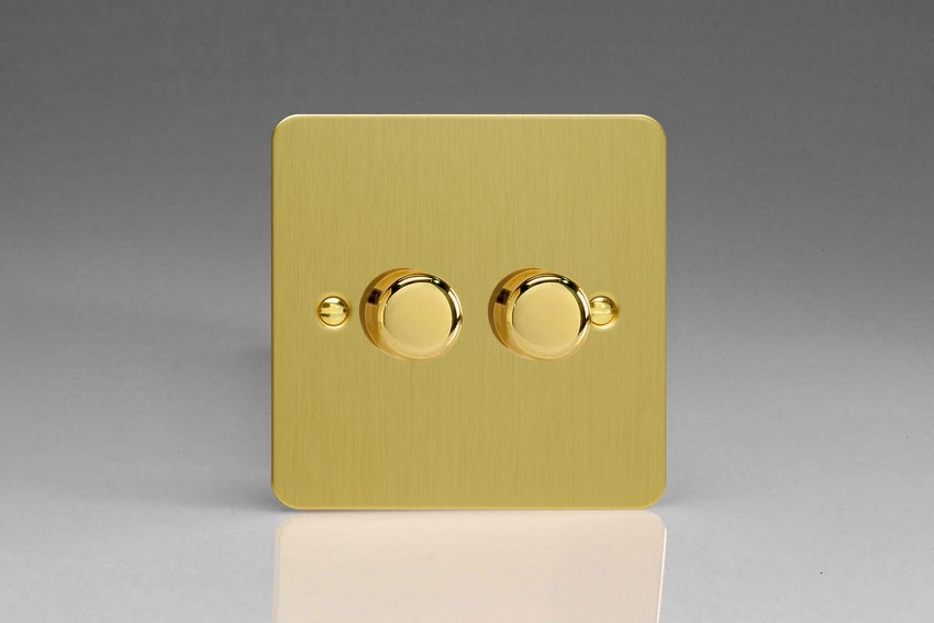 HFB83 Varilight V-Dim 2 Gang, 1 or 2 Way 2x400 Watt Dimmer, Ultra Flat Brushed Brass Effect