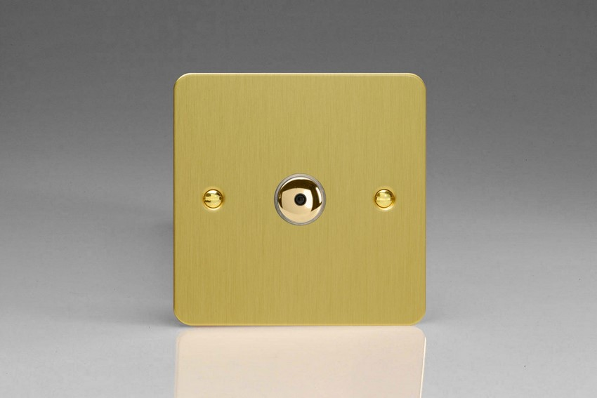 IJFBI101 Varilight V-Pro IR Series, Intelligent Programmable Master Dimmer, with Touch Sensitive Button and Centralised Remote Control Sensor - 1 gang, 0-100 Watts of LEDs, Ultra Flat Brushed Brass Effect