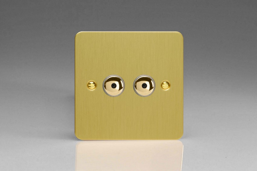 IJFBI102 Varilight V-Pro IR Series, Intelligent Programmable Master Dimmer, with Touch Sensitive Button and Centralised Remote Control Sensor - 2 gang, 0-100 Watts of LEDs, Ultra Flat Brushed Brass Effect