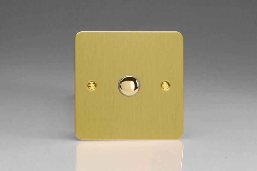 IJFBS001 Varilight V-Pro IR Series, 1 Gang Tactile Touch Button Slave Unit for 2 way or Multi-way Circuits Only, Ultra Flat Brushed Brass