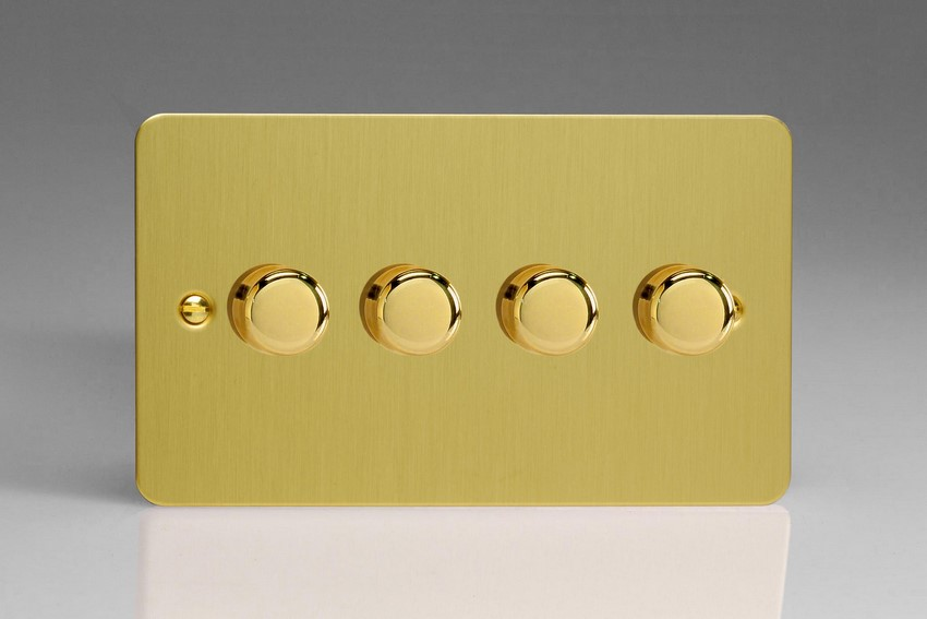 JFBDP254 Varilight V-Pro Series, 4 Gang, 1 or 2 Way, Push-On/Off Rotary LED Dimmer 4 x 0-120W (1-10 LEDs) (Twin Plate), Ultra Flat Brushed Brass Effect