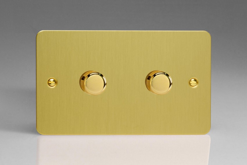 Varilight V-Pro High Power Series 2 Gang 10-300W Trailing Edge LED Dimmer Ultra Flat Brushed Brass