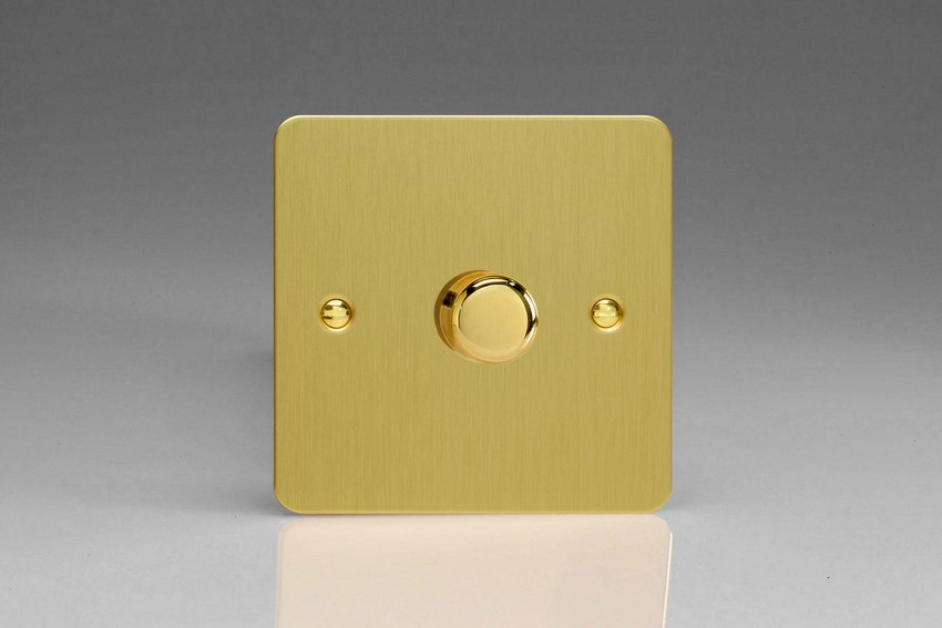 Varilight JFBP401, V-Pro Series, 1 Gang, 1 or 2 Way, Push-On/Off Rotary LED Dimmer 1 x 0-120W (1-10 LEDs), Ultra Flat Brushed Brass Effect