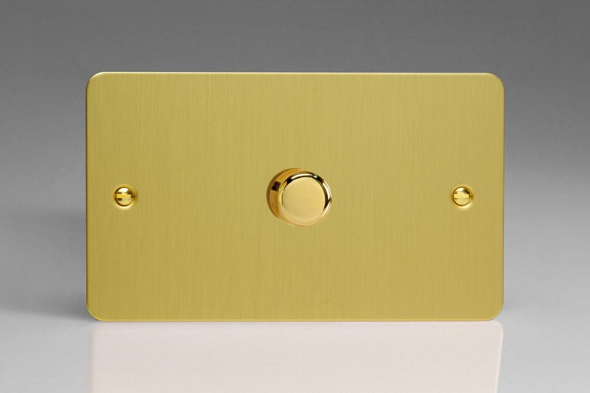 TFBDR1001 Varilight V-Dim Series 1 Gang on a Double Plate, 1 Way 1000 Watt Rotary Dimmer, Ultra Flat Brushed Brass Effect