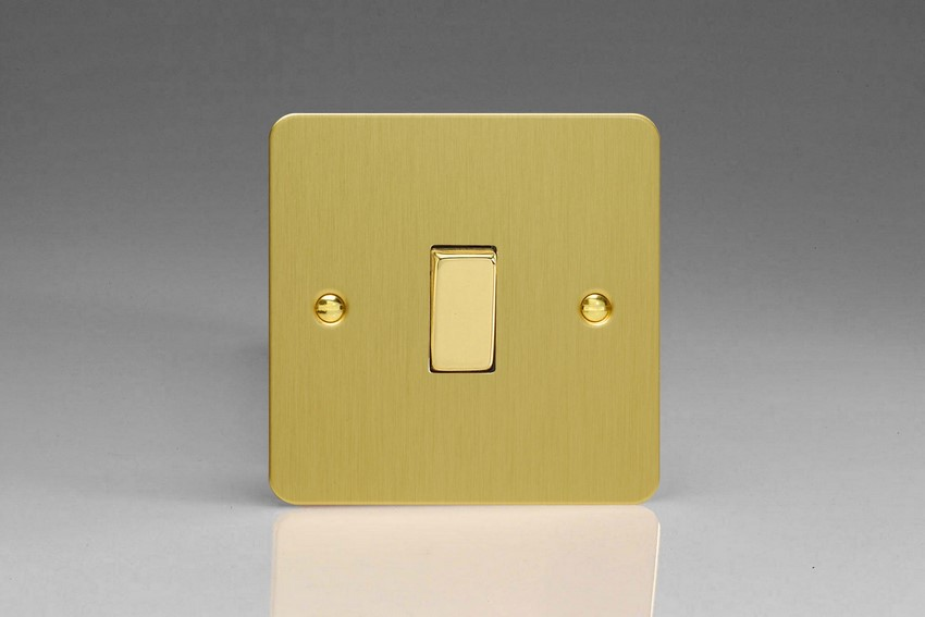 XFB1D Varilight 1 Gang (Single), 1 or 2 Way 10 Amp Switch, Ultra Flat Brushed Brass Effect
