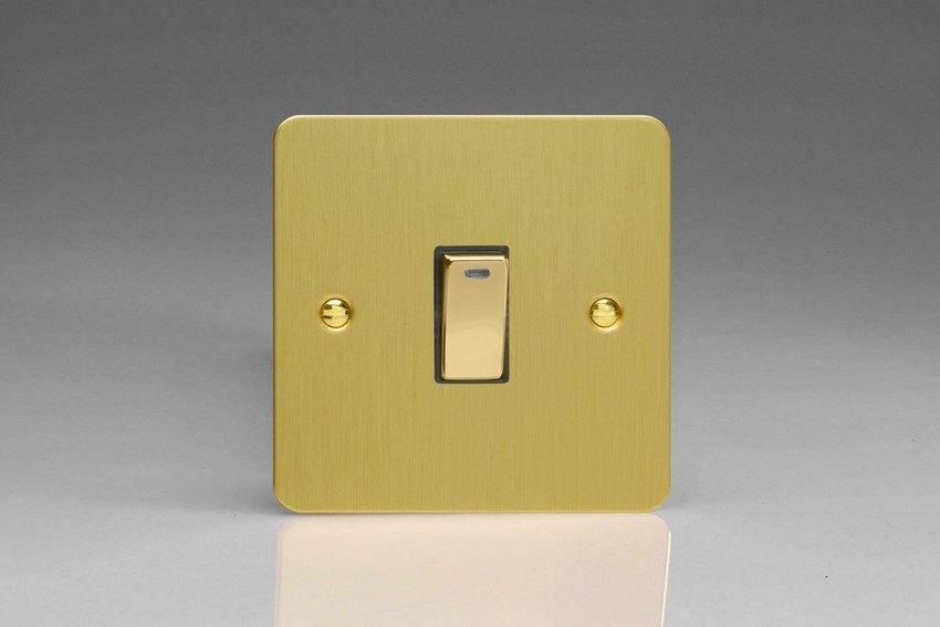 XFB20ND Varilight 1 Gang (Single), 20 Amp Double Pole Switch with Neon, Ultra Flat Brushed Brass Effect