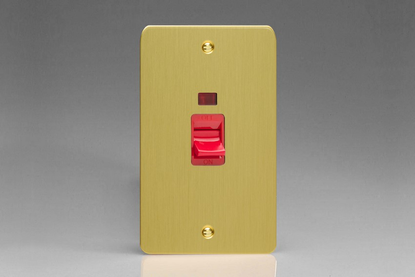 XFB45N Varilight 45 Amp Cooker Switch with Neon (Vertical Double Size), Ultra Flat Brushed Brass Effect