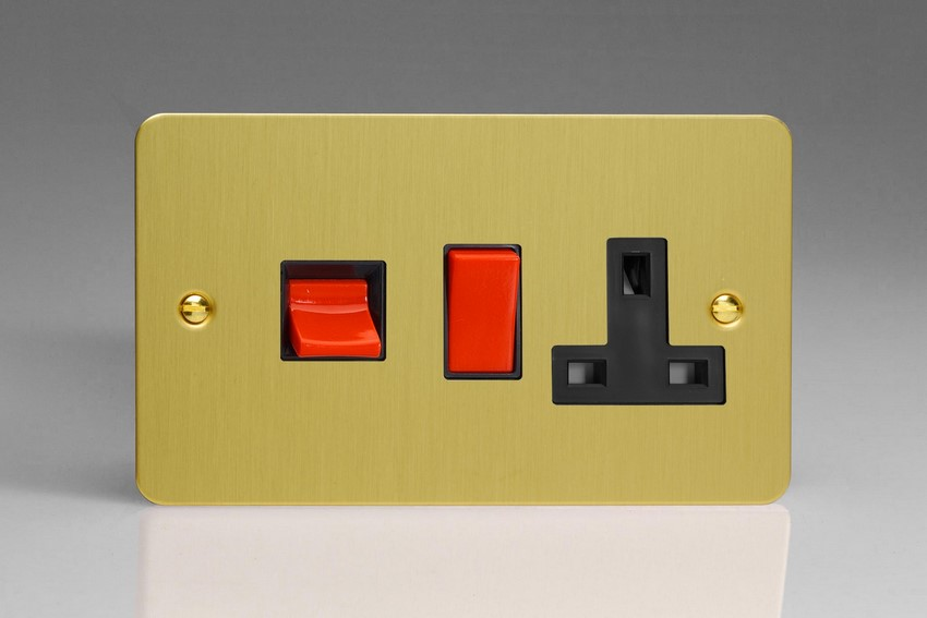 XFB45PB Varilight 45 Amp Cooker Panel with 13 Amp Switched Socket (Horizontal Double Size), Ultra Flat Brushed Brass Effect