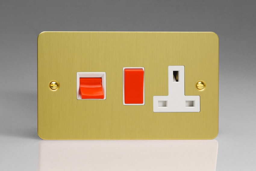 XFB45PW Varilight 45 Amp Cooker Panel with 13 Amp Switched Socket (Horizontal Double Size), Ultra Flat Brushed Brass Effect